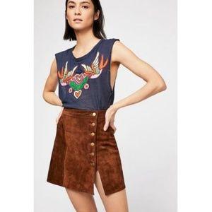 Free People M Love Birds Tee Shirt Top Linen Blend
